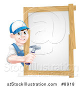 Vector Illustration of a Happy Young Brunette Caucasian Worker Man Holding a Hammer Around a Sign by AtStockIllustration