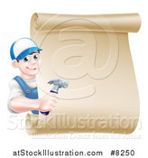 Vector Illustration of a Happy Young Brunette Caucasian Worker Man Wearing a Baseball Cap, Holding a Hammer and Looking Around a Scroll Sign by AtStockIllustration
