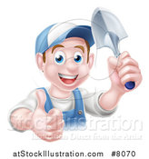 Vector Illustration of a Happy Young Brunette White Male Gardener in Blue, Giving a Thumb up and Holding a Shovel by AtStockIllustration
