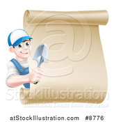 Vector Illustration of a Happy Young Brunette White Male Gardener in Blue, Holding a Hand Spade Shovel Around a Blank Scroll Sign by AtStockIllustration