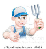 Vector Illustration of a Happy Young Brunette White Male Gardener in Blue, Holding up a Garden Fork and Thumb by AtStockIllustration