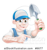 Vector Illustration of a Happy Young Brunette White Male Gardener in Blue, Pointing and Holding a Shovel by AtStockIllustration