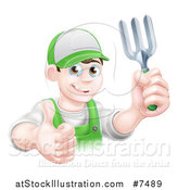 Vector Illustration of a Happy Young Brunette White Male Gardener in Green, Holding up a Garden Fork and Thumb by AtStockIllustration