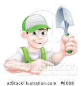 Vector Illustration of a Happy Young Brunette White Male Gardener in Green, Pointing and Holding a Shovel by AtStockIllustration