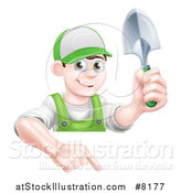 Vector Illustration of a Happy Young Brunette White Male Gardener in Green, Pointing down over a Sign and Holding a Shovel by AtStockIllustration