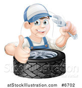Vector Illustration of a Happy Young Brunette White Mechanic Man Wearing a Baseball Cap, Holding a Wrench and Thumb up over a Tire by AtStockIllustration