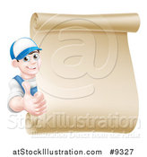 Vector Illustration of a Happy Young Caucasian Mechanic Man in Blue, Giving a Thumb up Around a Blank Scroll Sign by AtStockIllustration