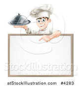 Vector Illustration of a Happy Young Chef Holding a Platter and Pointing down at a White Board Sign by AtStockIllustration
