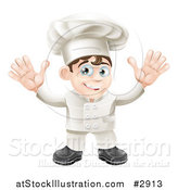 Vector Illustration of a Happy Young Chef in Uniform Holding up His Hands by AtStockIllustration