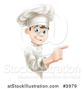 Vector Illustration of a Happy Young Chef Pointing Around a Menu or Sign Board by AtStockIllustration
