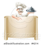 Vector Illustration of a Happy Young Chef with a Mustache, Holding a Platter and Pointing down at a Scroll Sign by AtStockIllustration