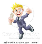 Vector Illustration of a Happy Young Graduate Business Man Jumping and Holding a Diploma by AtStockIllustration