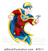 Vector Illustration of a Happy Young Male Brunette Caucasian Carpenter Worker Super Hero Running with a Hammer by AtStockIllustration