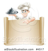 Vector Illustration of a Happy Young Male Chef Holding a Cloche and Pointing down at a Scroll by AtStockIllustration