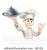 Vector Illustration of a Happy Young Male Chef Holding a Platter and Gesturing Ok by AtStockIllustration