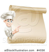 Vector Illustration of a Happy Young Male Chef Pointing to a Scroll Menu Sign by AtStockIllustration