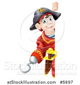 Vector Illustration of a Happy Young Pirate Captain Looking Around a Sign by AtStockIllustration