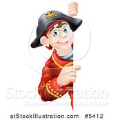 Vector Illustration of a Happy Young Pirate Captain Looking Around and Pointing to a Sign by AtStockIllustration