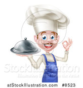 Vector Illustration of a Happy Young White Male Chef with a Mustache, Gesturing Ok and Holding a Cloche Platter by AtStockIllustration