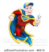 Vector Illustration of a Happy Young White Male Super Hero Mechanic Running with a Wrench by AtStockIllustration