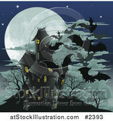Vector Illustration of a Haunted Halloween House with Vampire Bats and a Full Moon by AtStockIllustration