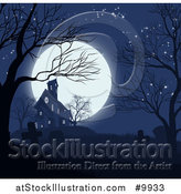 Vector Illustration of a Haunted House and Cemetery Against a Full Moon by AtStockIllustration