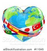 Vector Illustration of a Heart Earth Globe with National Flag Sashes by AtStockIllustration