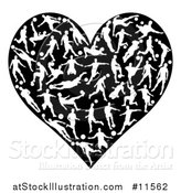 Vector Illustration of a Heart Made of White Silhouetted Soccer Players in Action by AtStockIllustration
