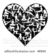 Vector Illustration of a Heart Made of White Silhouetted Yoga and Pilates People on Black by AtStockIllustration