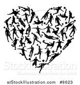 Vector Illustration of a Heart of Black Silhouetted Soccer Players by AtStockIllustration
