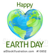 Vector Illustration of a Heart Shaped Planet with Happy Earth Day Text by AtStockIllustration