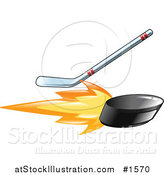 Vector Illustration of a Hockey Stick Hitting a Flaming Hockey Puck by AtStockIllustration
