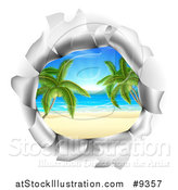 Vector Illustration of a Hole in a 3d Wall, Revealing a Tropical Beach by AtStockIllustration