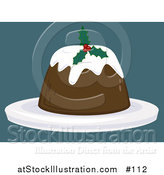 Vector Illustration of a Holly Garnished Christmas Pudding Dessert by AtStockIllustration