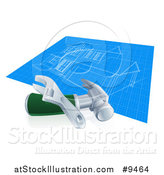 Vector Illustration of a Home Blueprints with a Wrench and Hammer by AtStockIllustration