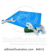 Vector Illustration of a Home Blueprints with Tools by AtStockIllustration