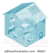 Vector Illustration of a Home Set up with a Local Area Network for Devices by AtStockIllustration