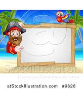 Vector Illustration of a Hook Handed Pirate Captain with a Parrot Around a Blank Sign on a Tropical Beach by AtStockIllustration