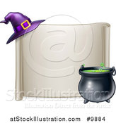 Vector Illustration of a Horizontal Blank Scroll Sign with a Boiling Cauldron and Purple Witch Hat by AtStockIllustration