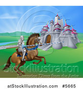 Vector Illustration of a Horseback Jousting Knight and Castle by AtStockIllustration