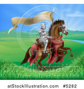 Vector Illustration of a Horseback Medieval Knight in Armor, Riding with a Banner in a Lush Landscape by AtStockIllustration