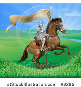 Vector Illustration of a Horseback Medieval Knight in Armor, Riding with a Banner in a Lush Landscape Ona Rearing Horse by AtStockIllustration