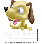 Vector Illustration of a Hound Puppy with a Blank Sign by AtStockIllustration