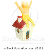 Vector Illustration of a House and Happy Gold Man by AtStockIllustration