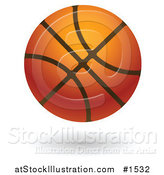 Vector Illustration of a Hovering Leather Basketball by AtStockIllustration