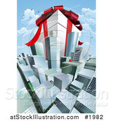 Vector Illustration of a Huge Present Within Cityscape by AtStockIllustration