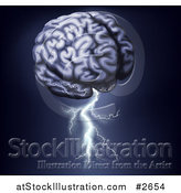Vector Illustration of a Human Brain with Lightning Shooting from the Bottom by AtStockIllustration