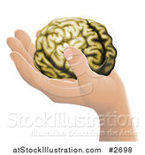 Vector Illustration of a Human Hand Holding a Brain by AtStockIllustration