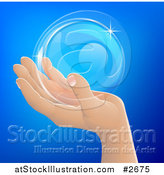 Vector Illustration of a Human Hand Holding a Bubble or Crystal Ball by AtStockIllustration