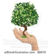 Vector Illustration of a Human Hand Holding a Lush Green Tree by AtStockIllustration